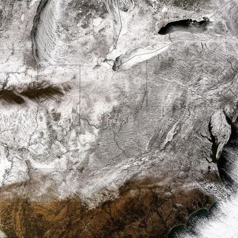 From NASA, yesterday: This corner of the world under many miles of frigid air.