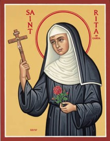 St. Rita of Cascia - through her humility and intercession her wicked husband was converted and her sons were spared a life of sin.